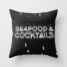 Seafood & Cocktails Throw Pillow