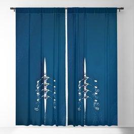 Classic Blue Teamwork | Aerial Print Blackout Curtain