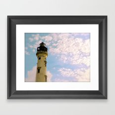 Cloudy at the Lighthouse Framed Art Print