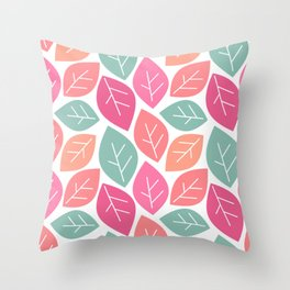cute colorful spring pattern background with leaves Throw Pillow