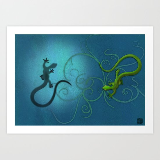 Gecko duality Art Print