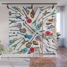 Electric Guitars on White Wall Mural