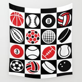 Sport Ball Checkerboard Wall Tapestry