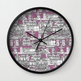 Paris toile raspberry Wall Clock