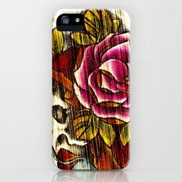 Tattoo Flash grunge....skull rose iPhone Case