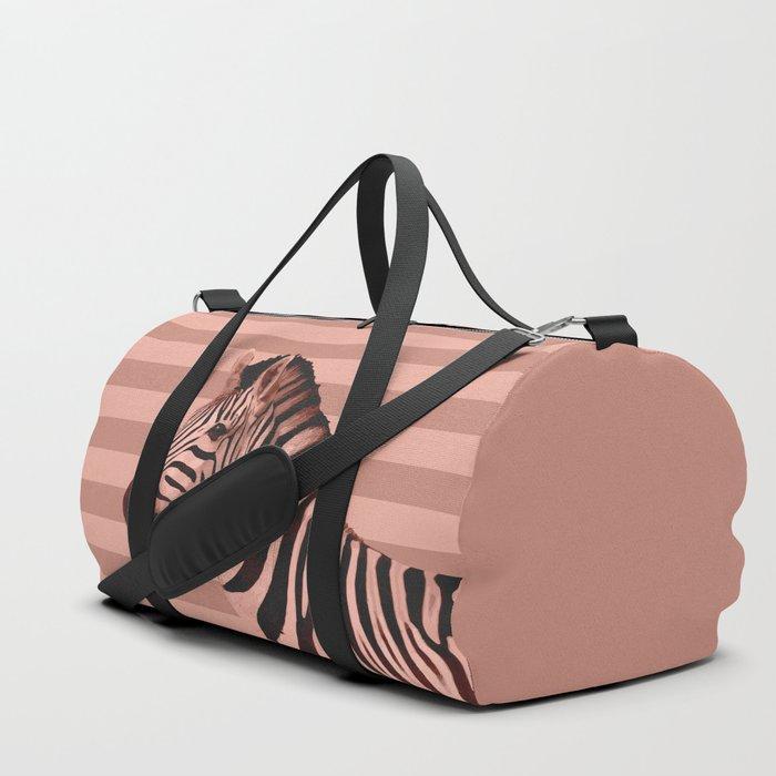 Animals Stripes Peach Zebra Duffle Bag