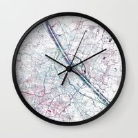 vienna Wall Clocks featuring Vienna map by MapMapMaps.Watercolors