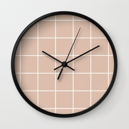 Grid pattern on dusty pink Wall Clock