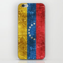 Vintage Aged and Scratched Venezuelan Flag iPhone Skin