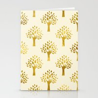 gold foil Stationery Cards featuring Cream Gold Foil 02 by Aloke Design