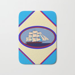 A Nautical Scene with Clipper Ship with Sky Blue Background Bath Mat