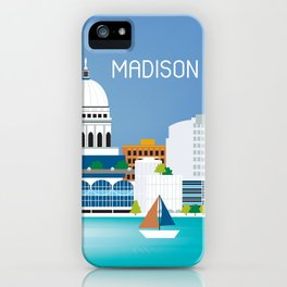 Madison, Wisconsin - Skyline Illustration by Loose Petals iPhone Case