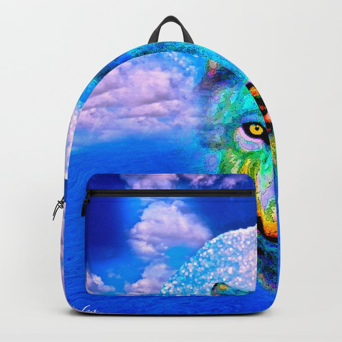 Wolf Moon and the Deep Blue Sea Backpack