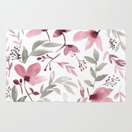 Rustic Floral - Watercolor Flowers Burgundy Pink Rug