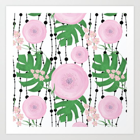 Pink flowers on a white background with black beads. Art Print