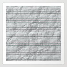 Crumpled Lined Paper Art Print