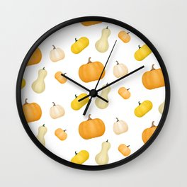 Pumpkins & Squash Pattern Wall Clock