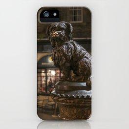 Bobby Greyfriars dog statue at night Edinburgh Scotland pub iPhone Case