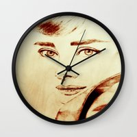 audrey hepburn Wall Clocks featuring Audrey Hepburn by Farinaz K.