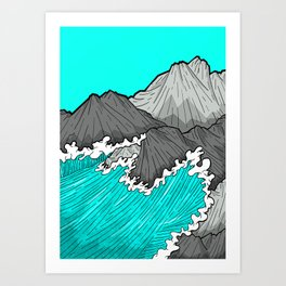 The Rocks And The Sea Art Print