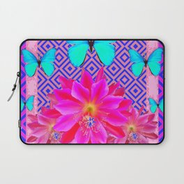 Fuchsia Orchid Flowers Turquoise Butterfly Patterns Laptop Sleeve