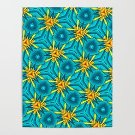 Birds of Paradise Floral Pattern \\ Unique Tropical Vibes \\ Green Yellow Blue Orange Color Scheme Poster