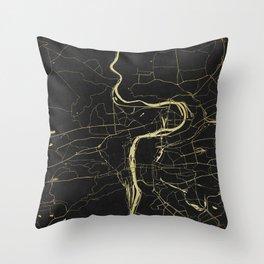 Prague Black and Gold Map Throw Pillow