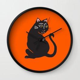 Black Cat with Orange Wall Clock