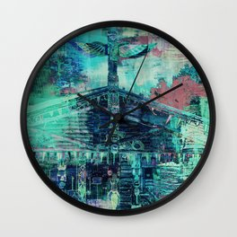 Totem Cabin Abstract - Teal Wall Clock