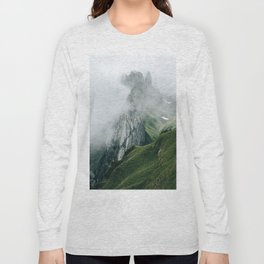 Switzerland Mountain Range in the Clouds - Landscape Photography Long Sleeve T-shirt