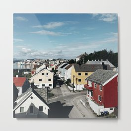 norwegian village in the fjord Metal Print