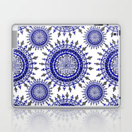 Royal Blue Winter/Holiday Snowflake Mandala Textile Laptop & iPad Skin