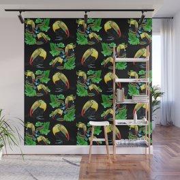Tropical Toucan in Black Wall Mural