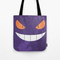 gengar Tote Bags featuring Minimalist Gengar by mistergookey