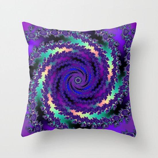 Purple Hurricane Fractal Throw Pillow