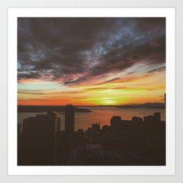 Sunset over Seattle  Art Print