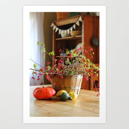 Country Fall Rose Hips Art Print