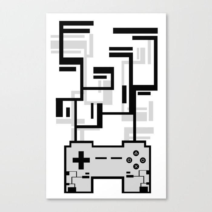 8-BIT JOYSTICK (GREY) Canvas Print