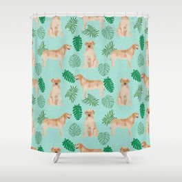 Yellow Lab summer monstera tropical pure breed dog gifts Shower Curtain
