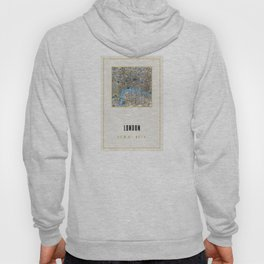Vintage London Gold Foil Location Coordinates with map Hoody