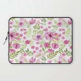 Watercolor/Ink Sweet Pink Floral Painting Laptop Sleeve