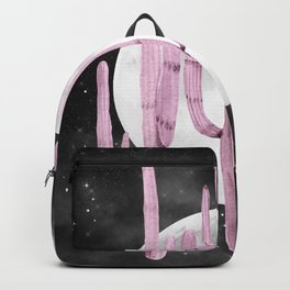 Cactus Nights Full Moon Starry Sky Purple by Nature Magick Backpack