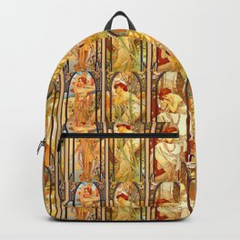 """Alphonse Mucha """"Times of day"""" Backpack"""