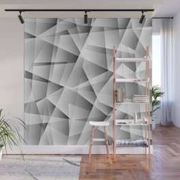 Exclusive light monochrome pattern of chaotic black and white glass fragments and silver plates. Wall Mural