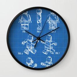 Legos Patent - Block Man Art - Blueprint Wall Clock