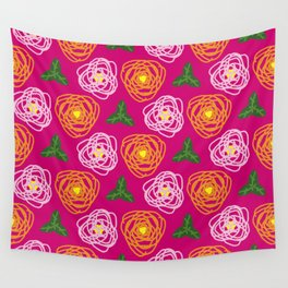 Bright pink floral Wall Tapestry
