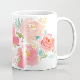 Watercolor Peonies Summer Bouquet Coffee Mug