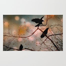 Rainy Day Crows Rug