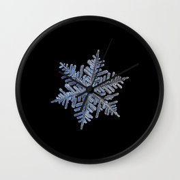 Real snowflake - 2017-02-13 4 Black Wall Clock