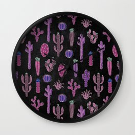 Cactus Pattern On Chalkboard Wall Clock
